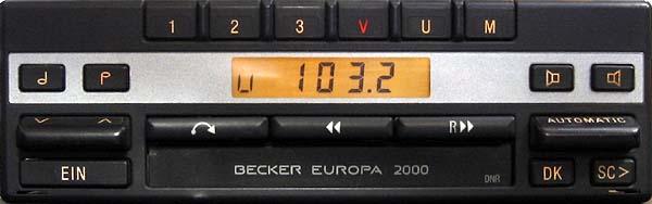 BECKER EUROPA 2000 be 1105 code