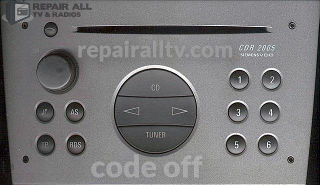 cdr 2005 siemens vdo code off