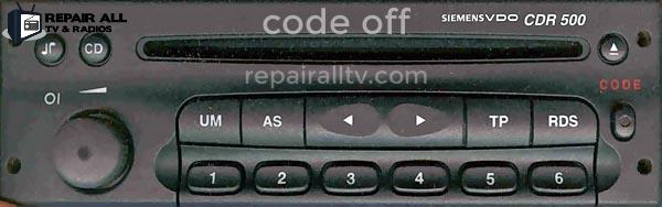 cdr500 code off siemens vdo