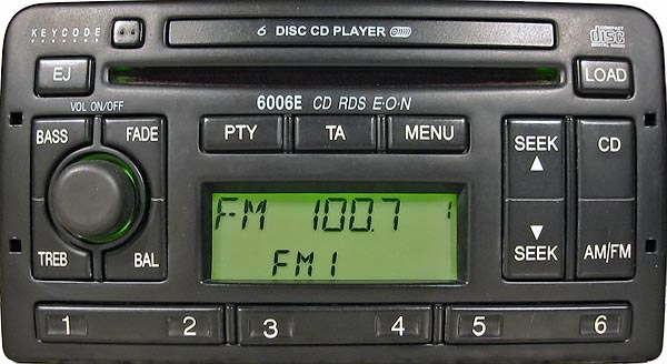 ford 6006E CD RDS EON MAZDA U204 1S7F 18C815 AD code