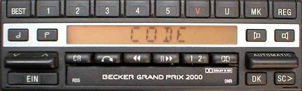 BECKER GRAND PRIX 2000 RDS be1305 code