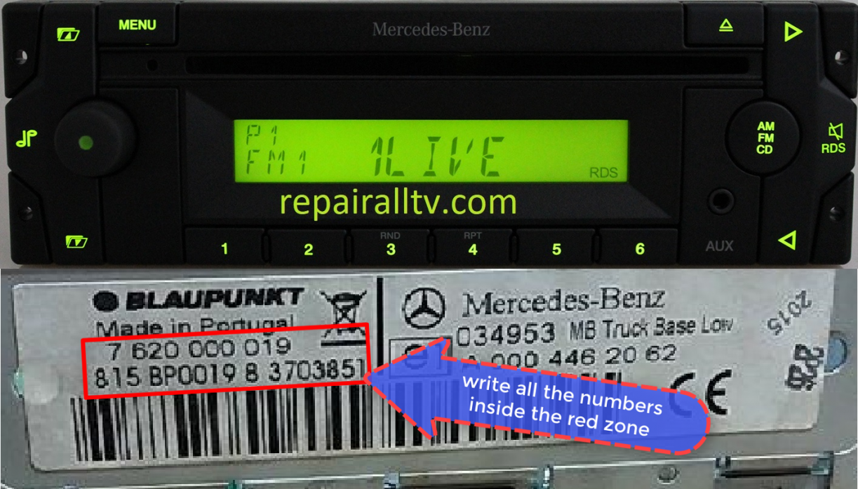 mercedes benz MB Truck Base Low BP0019 blaupunkt code
