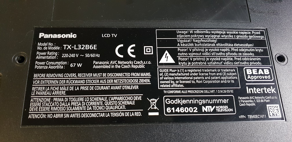 Panasonic TX-L32B6E 29F1G08ABAEA Download