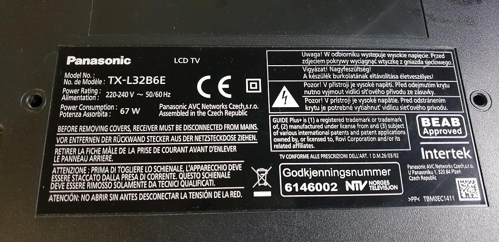 Panasonic TX-L32B6E 29F1G08ABAEA Download