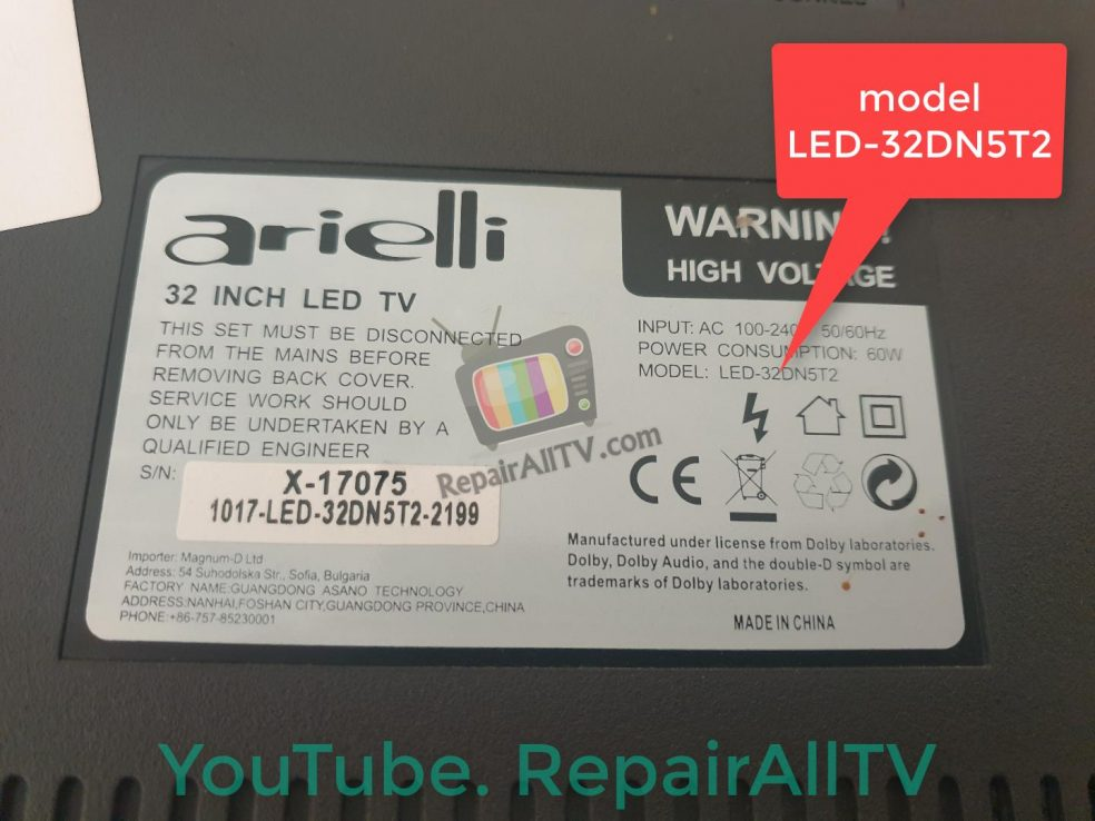 arielli LED-32DN5T2 25Q64 bin flash