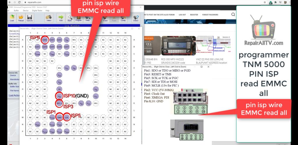 ISP PIN READ EMMC TNM 5000