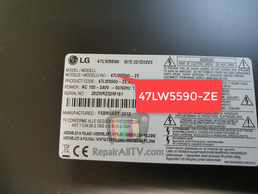 LG 47LW5590-ZE EAX64405501 TC58DVG3S0ETA00